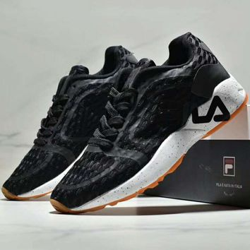 FILA new tide brand mesh breathable men and women sports shoes running shoes Black