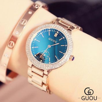 GUOU Luxury Diamond Wrist Watch Fashion Blue Glass Watch Women Watches Women's Watches Clock saat relogio feminino reloj mujer