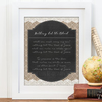 Nothing But The Blood of Jesus Hymn Art, Christian Wall Art, Burlap and Lace, Chalkboard Print, Christian Art and Gift, Hymn Lyrics Print