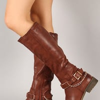 Lug-39H Buckle Chain Riding Knee High Boot
