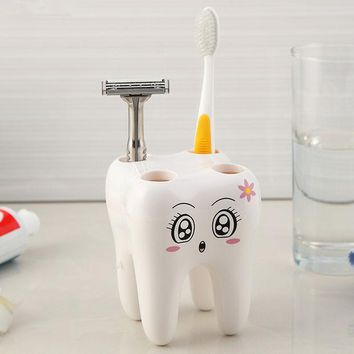 ICIK272 Cartoon Toothbrush Holder,Teeth Style 4 Hole Stand Tooth Brush Shelf Bathroom Accessories Sets,Bracket Container For Bathroom