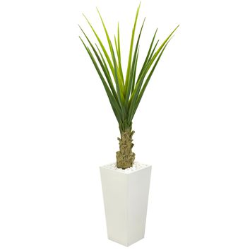 Artificial Plant -5 Foot Agave Plant with White Planter