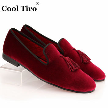 COOL TIRO Tassel Loafers Men Velvet Shoes Red Wine Velour Slippers Smoking Men's Flats Wedding Party Dress Shoes Casual shoes