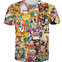 90s Nick toons all over print tee shirt w/ Cartoon network