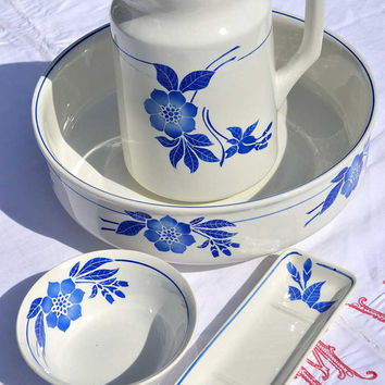 Vintage French Pitcher and Bowl Bathroom Set | Blue Floral French Ironstone Wash Basin and Jug | Rustic French Jug and Bowl Bath Set