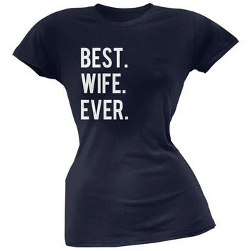 Valentine's Day Best Wife Ever Navy Soft Juniors T-Shirt