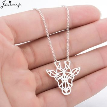 Jisensp Fashion Cute Vivid Giraffe Necklace for Best Friend Minimalist Animal Women Jewelry Geometric Pendant Necklace collares