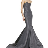 Zac Posen Strapless Seamed Trumpet Gown in Silk