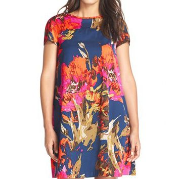Women's Trina Turk 'Watteau' Pleated Back Faille Trapeze Dress,