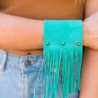 Cuff Me Up Teal Fringe Cuff