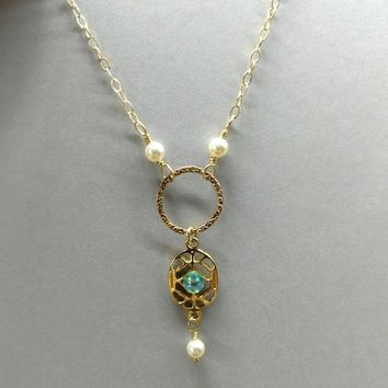 14 KT Gold Filled Hammered Circle Green Crystal Filigree Necklace