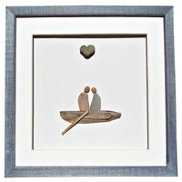 Engagement, bridal/wedding shower, new home housewarming gift, Couple in love, driftwood boat and genuine heart shaped stone, Pebble art