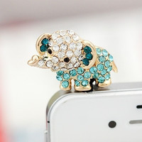 Cute Rhinestone Elephant Dust Plug for iPhone 4 4s 5 5s = 1652942276