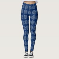 Personalize your navy blue white mandala legging