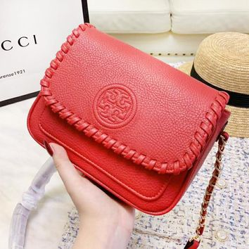 Tory Burch Fashion New Leather High Quality Chain Leisure Shoulder Bag Women Red