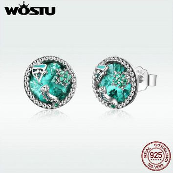 WOSTU 2018 New 925 Sterling Silver Underwater Fish Stud Earrings For Women Birthday Party Delicate Brand Jewelry Gift DXE496