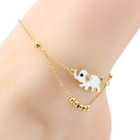 Cute Sweet Elephant Beaded Anklet Two Chains Golden Anklet Ankle Bracelet Je005