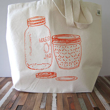 Canvas Tote Bag - Screen Printed Recycled Cotton Grocery Bag - Large Canvas Shopper Tote - Mason Jar - Home Canning - Reusable and Washable