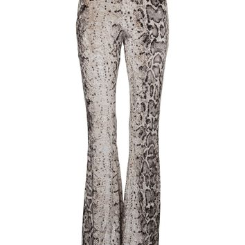 White Snake Animal Print Flared Velvet Bell Bottom Pants