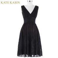 Sleeveless Short Cocktail Dresses Autumn Party Gown A Line Formal Prom Dress Knee Length Lace Cocktail Dress