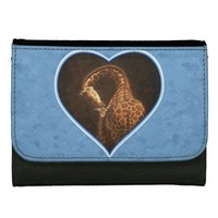 Mother Giraffe and Baby Blue Heart Wallet For Women