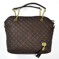 Brown Quilted Handbag Tote with Tassel