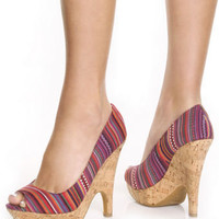 Bamboo Recap 30x Red Guatemalan Striped Cork Wedge Heels