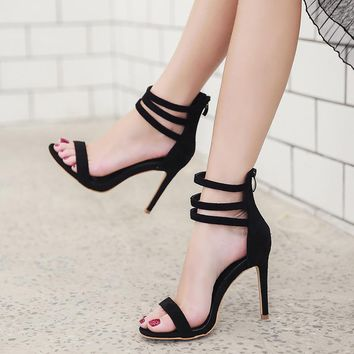 Suede Simple Open Toe Ankle Straps Stiletto High Heel Party Sandals