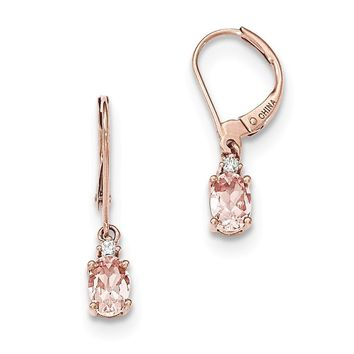 14k Rose Gold Oval Morganite & Diamond Leverback Earrings