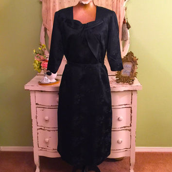 Plus Size Evening Dress, Black Silk Satin, 40s 50s Concert Dress, Elegant Dress, Formal Vintage Dress, Hollywood Glamour Opera Black Dress