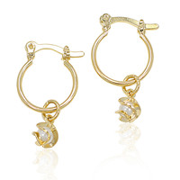 Gold Plated 14k White Simulated Pearl Plain Hoop Charm Twisted Earrings Girl Lady 12mm