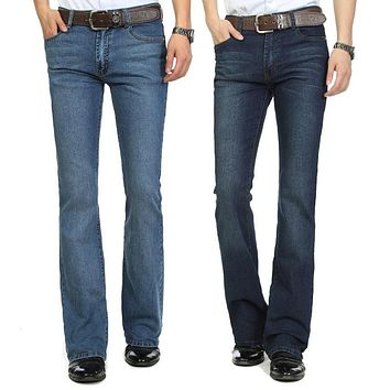 High Quality and Promotion 2014 male mid waist elastic slim boot cut semi-flared bell bottom jeans four seasons men's jeans