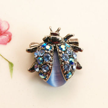 Ladybird Brooch, Ladybug Pin, Blue Rhinestones, Small Brooch, Moonglow Glass, Auroa Borealis, Silver Tone, Animal Pin, Insect, Bug - 1950s