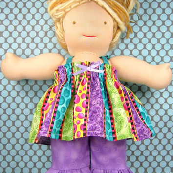 Waldorf doll top and pants - Bamboletta 15/16 inch - American Girl AG doll - Stripes bubbles purple doll clothing - Robe et pantalon poupée