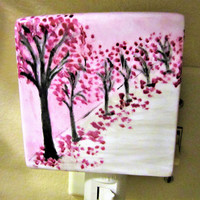 Night Light Trees Flowered Plug in Purple Lilac Porcelain Ceramic Hand Painted blm