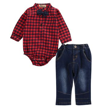 2PCS Toddler Kids Baby Boys Romper Grid Tops Jeans Pants Outfits Cool Clothing Set 0-18M