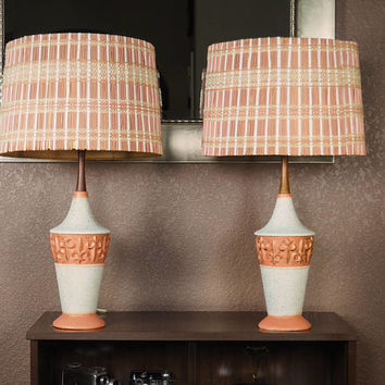 PAIR of Mid Century Modern Table Lamps | Pottery and Teak Base with Woven Matchstick Drum Shades | Pink and White