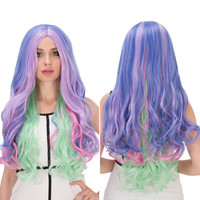 Long Wavy Colorful Centre Parting Film Character Cosplay Wig