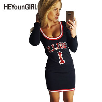 HEYounGIRL 2017 Summer Dress Women Cute Cartoon Printed Bull Letter Sexy Straight Mini Dress Femme Vestidos Robe Full Sleeve