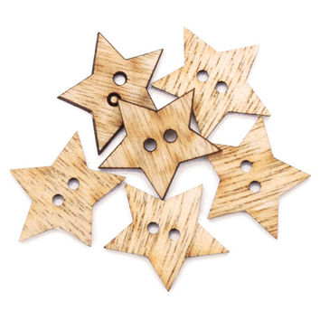 Favorite Findings Wood Buttons, Simple Stars 6/Pkg, Wooden Star Buttons