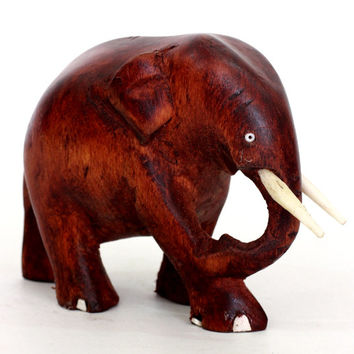 Elephant Figurine - Hand mahogani colored wood carved from old Sri Lanka technology