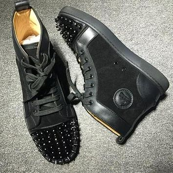 Cl Christian Louboutin Lou Spikes Style #2210 Sneakers Fashion Shoes