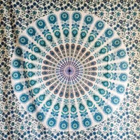 Tapestry Mandala Peacock blue, red or orange