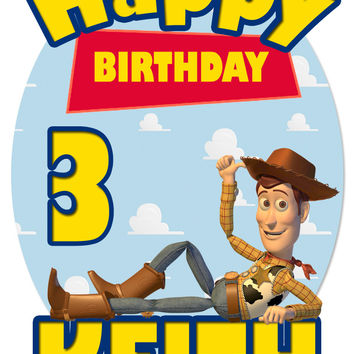 Personalized Custom Birthday T-shirt Disney Toy Story Woody