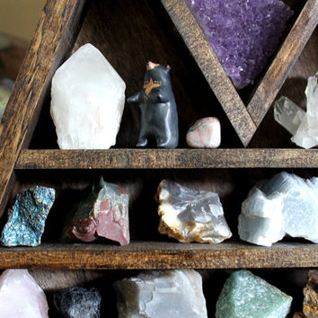 Large Crystal and Mineral collection in handmade elongated wood triangle shelf along with HandyMaiden Owl Sculpture