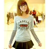 Long Sleeve Green Scoop Women Autumn New Style Korean Style Stripe Fake Two-pieces T-shirt One Size @WH0379gr $8.99 only in eFexcity.com.