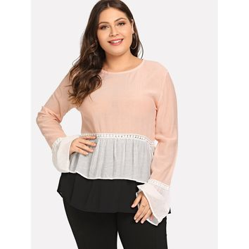 Plus Contrast Lace Layered Ruffle Hem Top Pink