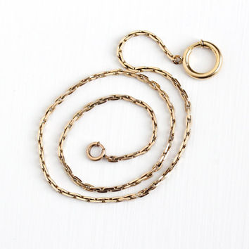 Vintage Yellow Gold Filled Pocket Watch Chain - Men's Fob Chain with Large Swivel Clip 18 Inch Jewelry Accessory Signed Krementz