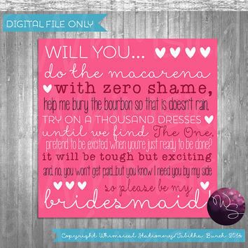 "Bridesmaid Proposal Cards - ""Zero Shame (Pink)"" (Printable File Only) Ask Bridesmaid Be In My Wedding"