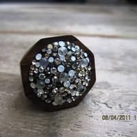 Organic Wood Ring with Swarovski Elements
